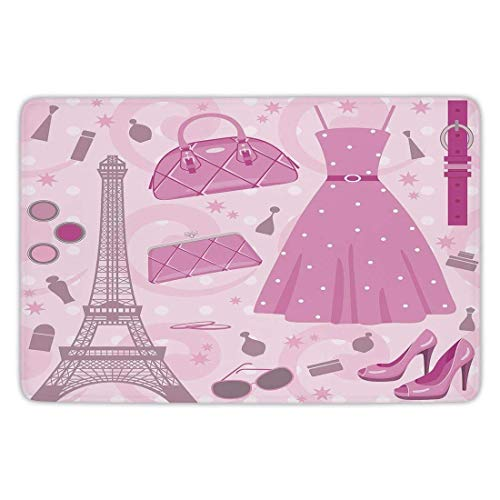 Bathroom Bath Rug Kitchen Floor Mat Carpet,Heels and Dresses,Paris Fashion Atelier French Boutique Feminine Glamor Eiffel Decorative,Baby Pink Mauve Magenta,Flannel Microfiber Non-Slip Soft Absorbent