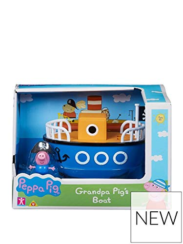 (Peppa Pig Grandpa Pig's Boat Vehicle Small Playset With Pirate George)