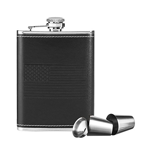 Design Flask Hip (New Scale 8oz Black Slim Hip Flask with American Flag hollow Design Gift Set Premium in Black Gift Box)