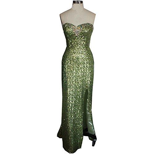 Robes De Soutien-gorge Des Femmes Cotylédons Robes Longueur Mince Plancher Ajustement Avec Des Paillettes Vertes