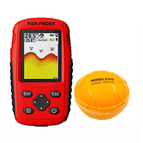 ZHJIUXING HO Wireless Fish Finder, Portable Fishfinder with Wireless Sonar Sensor and Handheld LCD Display Monitor, Showing Depth, Yellow