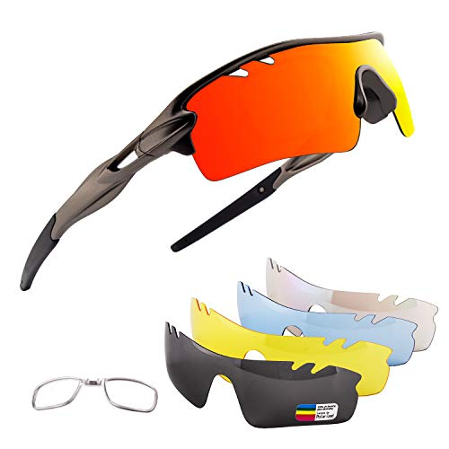 OULIQI Men Polarized Sports Sunglasses with 5 Interchangeable Lenes Cycling