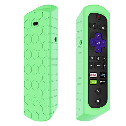 Fintie Case for Roku Ultra 2018/2017, Roku 4 3 2 1 Remote - Casebot [Honey Comb Series] Light Weight [Anti Slip] Shock Proof Silicone Cover for Roku Ultra 2018/2017, Roku 4 3 2 1 Remote, Green Glow