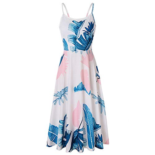 PIZOFF Women's Palm Print Dress Sleeveless Adjustable Strappy Summer Floral Flared Swing Midi Dress AM071-13-M