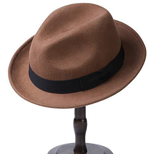 Erigaray Men's 100% Pure Wool Classic Manhattan Trilby Dress Fedora Hats ()