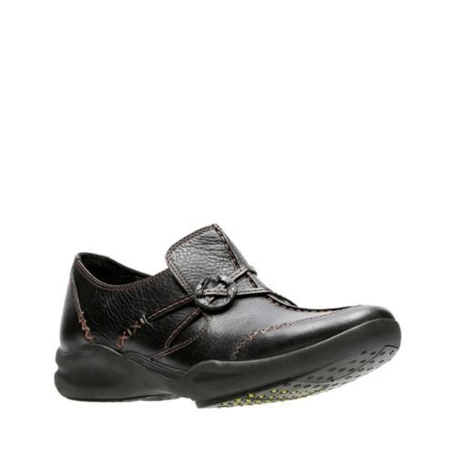 Clarks Women's Wave.Run Black Leather Loafer 10 D - Wide by CLARKS