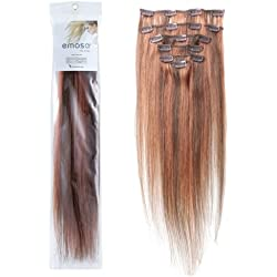 Emosa 7Pcs 70g 100% Real Full Head Remy Human Hair Clip In Extensions #4/30 Medium Brown with Light Auburn Silky Soft