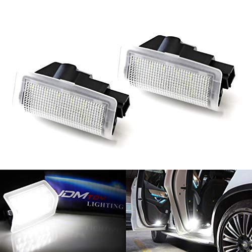 iJDMTOY (2) Clear Lens White LED Side Door Courtesy Lights For Mercedes A B C E ML GL GLC GLE GLS Class, Great as OEM Replacement (Powered by 18 Pieces of 3W SMD LED Lights)