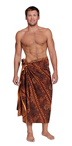 1 World Sarongs Mens Traditional Indonesian Batik Style Fringeless Sarong/Assorted Styles For -
