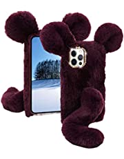 Soft Fluffy Furry Mouse Case for Samsung Note 20 Ultra MOIKY with Screen Protector for Samsung Note 20 Ultra Cute Winter Faux Fur 3D Cartoon Animal Plush Rat Phone Shockproof Protective Cover,Purple