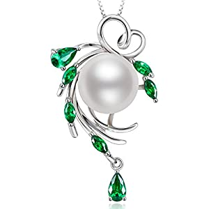 "❤Valentine's Day Gift❤Freshwater Cultured White Pearl ""Green Hope of Spring"" Sterling Silver Pendant Necklace, Fine Jewelry for Women, Birthday Gift for Her"