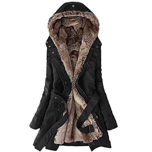 HGWXX7 Women's Winter Warm Faux Fur Lining Trench Coat Thick Long Jacket Hooded -
