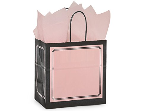 Pack Of 250, Junior 8 x 5 x 8'' Solid Pink & Black Duets Shopping Bag Made In USA by Generic