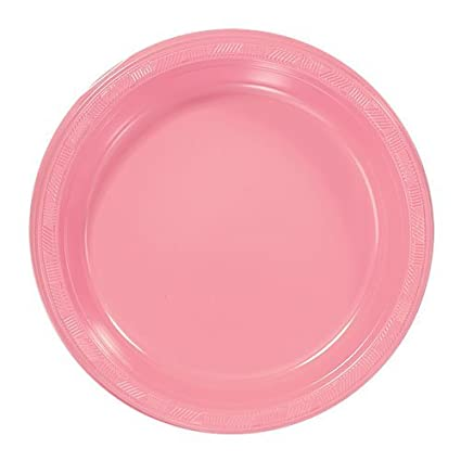 Hanna K. Signature Collection Plastic Plate 50 Plates 9-Inch Pink  sc 1 st  Amazon.com : plastic pink plates - pezcame.com