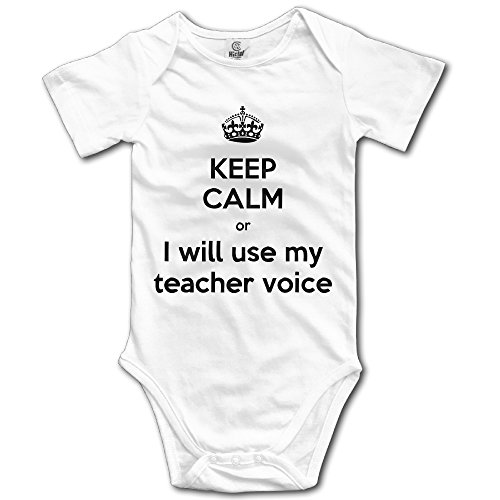 (Keep Calm Or I Will Use My Teacher Voice Funny Newborn Onesie Bodysuit)