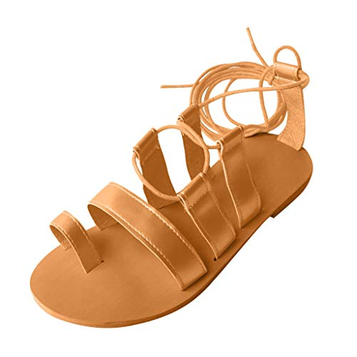 Women Flat Sandals,✔ Hypothesis_X ☎ Criss-Cross Strap Flat Sandals Roman Sandals Open Toe Beach Shoes Yellow