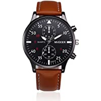 FimKaul Men Fashion Retro Design Leather Band Analog Alloy Quartz Business Wrist Watch