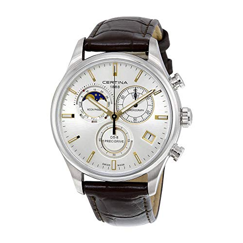 8352eaca768 Certina DS- 8 Chronograph Moon Phase Silver Dial Brown Leather Mens Watch  C0334501603100