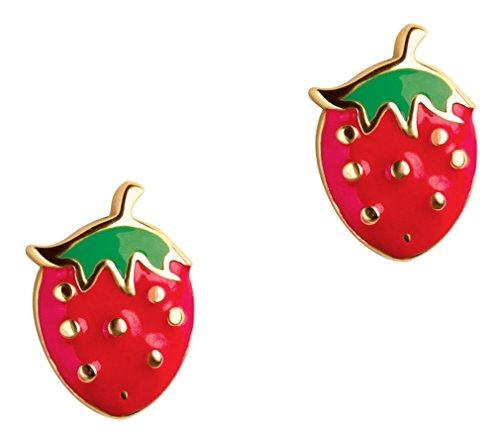 Girl Nation Little Treasures Collection Enamel Strawberry Fields Post Earrings ()