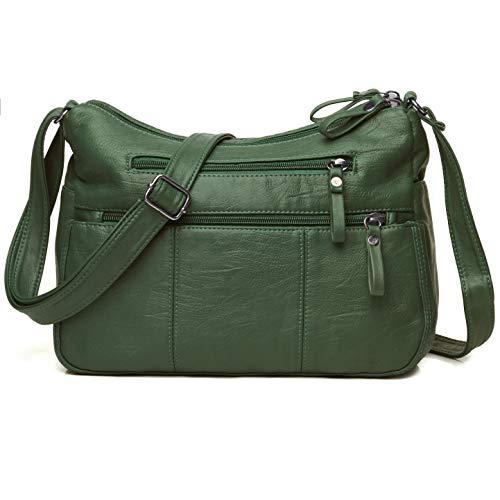 Volcanic Rock Women Crossbody Bag Pocketbooks Soft PU Leather Purses and Handbags Multi Pocket Shoulder Bag (Green-11.8