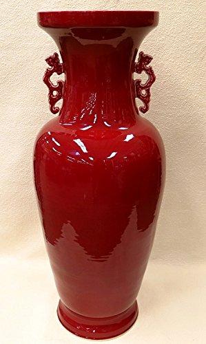 BlueWhiteVases Dragon Handle Oxblood Red Porcelain Vase 44