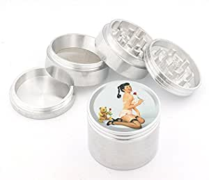 Vintage Pin Up Girl Design Medium Size 4pcs Aluminum Herbal or Tobacco Grinder # G50-92415-23