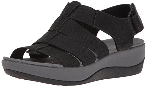 CLARKS Women's Arla Shaylie Platform, Black Elastic Fabric, 9 Medium US