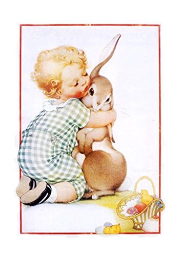 Orenco Originals Vintage Child Hugging Baby Bunny Easter Counted Cross Stitch (Easter Cross Stitch Pattern)