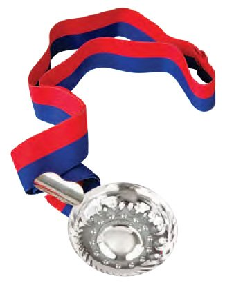 Silver Plated Tastevin Wine Tasting Cup with Blue and Red Ribbon ()