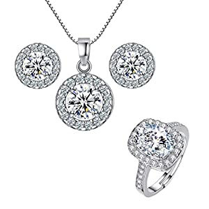 Bonlting Nobio Women's 925 Sterling Silver Crystal Wedding Necklace Earring Finger Ring Pendent Charm Jewelry Set