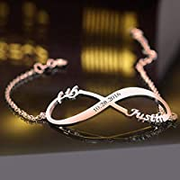LIERDA Custom Infinity Charm Bracelet Made with 2 Names & Date 925 Sterling Silver