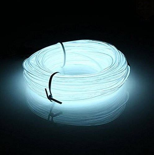 Lysignal 16ft Neon Glowing Strobing Electroluminescent Light Super Bright Battery Operated EL Wire Cable for Cosplay Dress Festival Halloween Christmas Party Carnival Decoration (White)