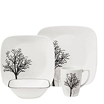 Corelle 16-Piece Squares Vines & Leaves Timber Shadows Glass Dinnerware Set for Kitchen or Dining Room Service for 4