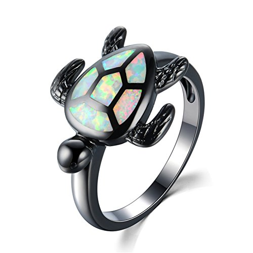 Fat Girl Turtle Costume (Wedding Turtle White Fire Opal Black Filled Jewelry Size 6-10 Fashion Rings)