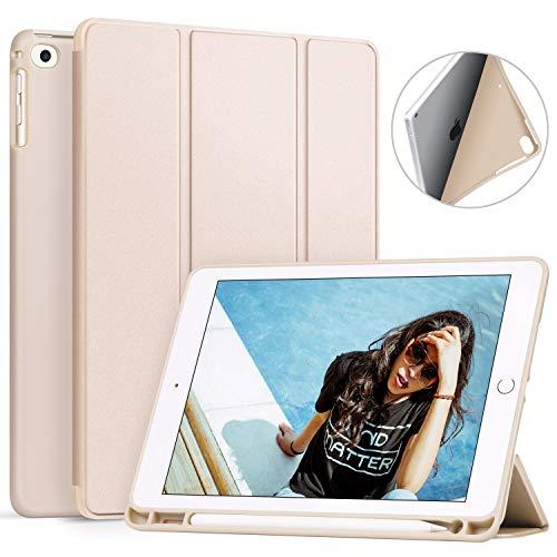 新型iPad 9.7 2018/2017 ケース Ztotop 3つ折スタンド Pencil収納 オートスリープ機能付き 傷つけ防止 放熱 手帳型 保護カバー 第6/5世代iPad 9.7インチ(モデル番号A1822/A1823/A1893/A1954) 専用 スマートケース(ベージュ)