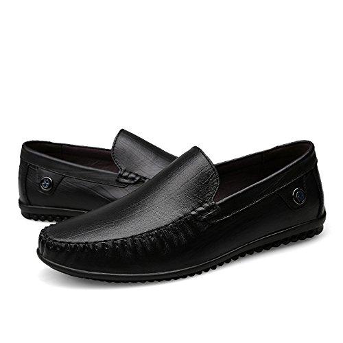 Men's Vamp Cowhide Dimensione Color EU on shoes uomo Marrone lightweight Flat Heel business Heel Flat Mocassins Hongjun 2018 42 Nero formale Mocassini Slip Mocassino Rq5xwYw