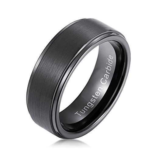 tiitc 8mm Black Plated Mens Tungsten Carbide Ring Step Edge and Brushed Center
