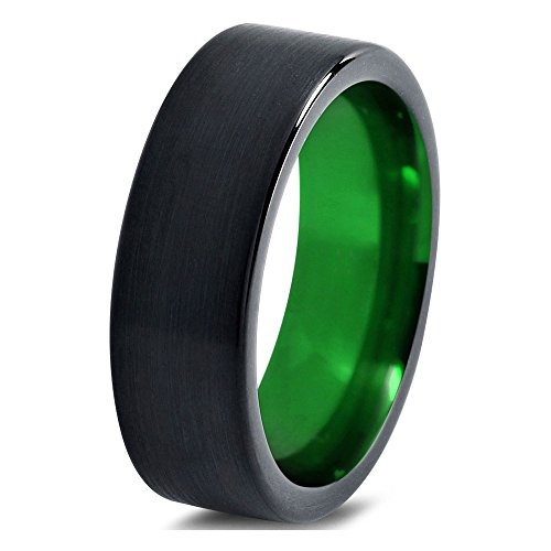 Tungsten Wedding Band Ring 6mm 8mm 10mm 12mm for Men Women Green Black Flat Pipe Cut Brushed Polished FREE Custom Laser Engraving Lifetime Guarantee
