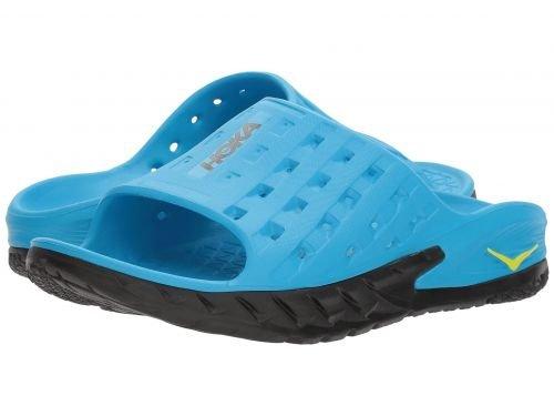 貨物かりて泳ぐHoka One One(ホカオネオネ) メンズ 男性用 シューズ 靴 サンダル フラット Ora Recovery Slide - Black/Process Blue [並行輸入品]