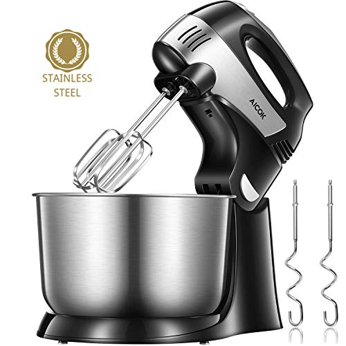 Hand Mixer 2 in 1 Electric mixer 6 Option Precise 5 speed control turbo 3.7 Quarts Bowl include Beaters and Dough Hooks, Easy Install or Disassemble, Stainless Steel,black,Aicok