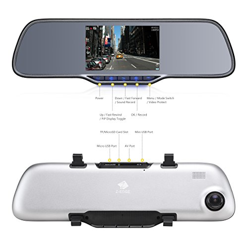Z-EDGE Z2Pro Dual Dash Cam, 2K Ultra HD 2160P Front & 1080P Rear 5.0'' Ultra Clear IPS Rearview Mirror, Front and Rear Dash Cam, Backup Camera with 150 Degree Viewing Angle, WDR, 16GB card included by Z-EDGE (Image #2)