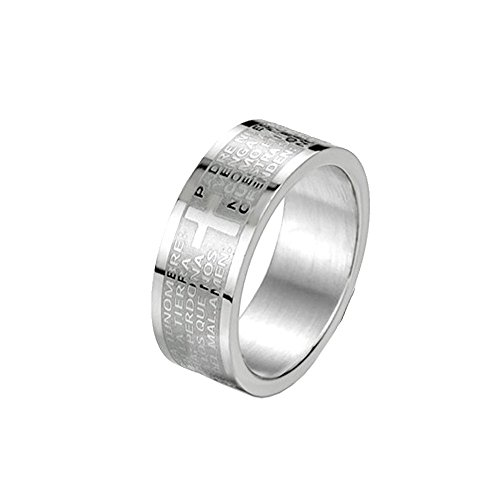 UM Jewelry Classic Womens Mens Stainless Steel Finger Ring for Couples Cross Bible Prayer Engraved