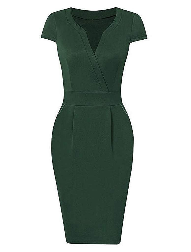 Wamvp Frauen Kleid V-Ausschnitt Business Office L/ässig figurbetontes Workwear-Bleistiftkleid Dress schlank