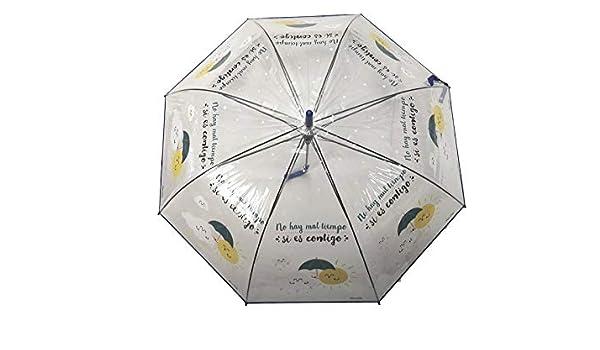 Paraguas Transparente Sol y Nube Frase No Hay Mal Tiempo si es contigo Regalo San Valentin Regalo ROMANTICO: Amazon.es: Equipaje