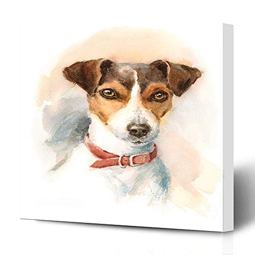 Ahawoso Canvas Prints Wall Art 12x12 Inches Artistic Painting Watercolor Dog Jack Russell Terrier Breeds Brush Domestic Decor for Living Room Office Bedroom