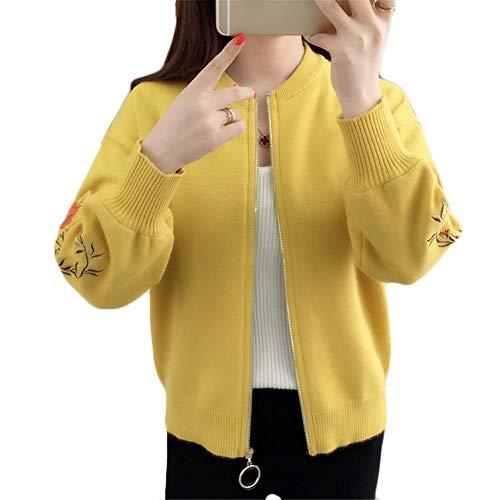 [ユリカー] レディース セーター ニット カーディガン 刺繍 花柄 コート 長袖 秋 ゆったり シンプル おしゃれ きれいめ