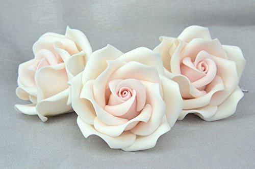 Set Of 3 Blush Pink Sugar Paste Roses Size 2 Handmade Topper