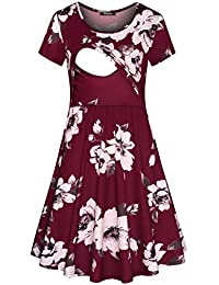 eeff68877a Women s Floral Short Sleeve Summer Maternity Nursing Breastfeeding Dress