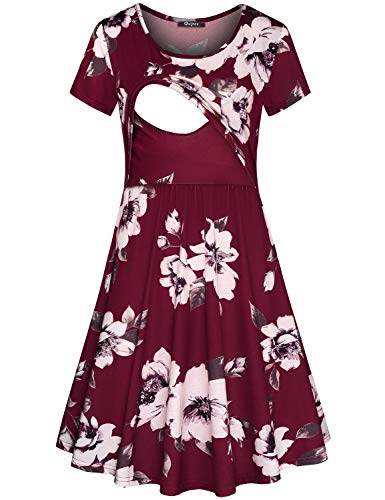 (Quinee Breastfeeding Dress, Women Summer Short Sleeve Scoop Neck Casual Clothes for Nusring Mother Floral Printed Post Partum Soft Maternity Tunic Dresses for Pregnancy Red)