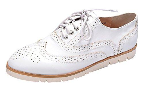 Nature Breeze Womens Lace-Up Wingtip Low Flatform Platform Oxford Shoe White 0unV70gd2l